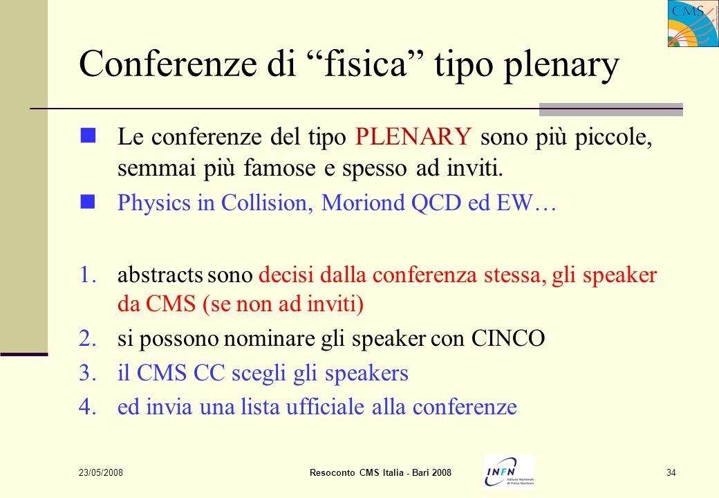 23/05/2008Resoconto CMS Italia - Bari 200834 Conferenze di fisica tipo plenary Le conferenze del tipo PLENARY sono più piccole, semmai più famose e spesso ad inviti.
