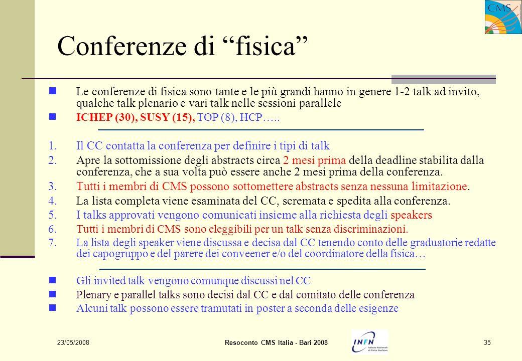 23/05/2008Resoconto CMS Italia - Bari 200835 Conferenze di fisica Le conferenze di fisica sono tante e le più grandi hanno in genere 1-2 talk ad invit