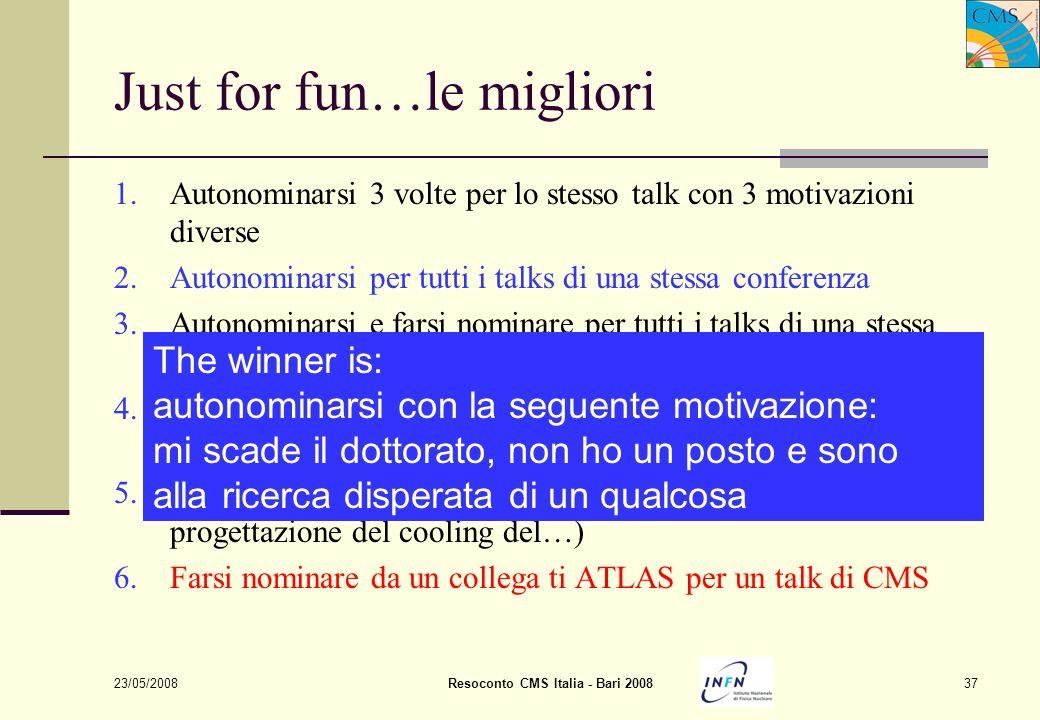 23/05/2008Resoconto CMS Italia - Bari 200837 Just for fun…le migliori 1.Autonominarsi 3 volte per lo stesso talk con 3 motivazioni diverse 2.Autonomin