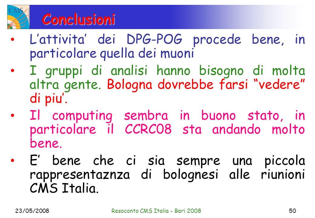 23/05/2008Resoconto CMS Italia - Bari 200850 Conclusioni Lattivita dei DPG-POG procede bene, in particolare quella dei muoni I gruppi di analisi hanno bisogno di molta altra gente.