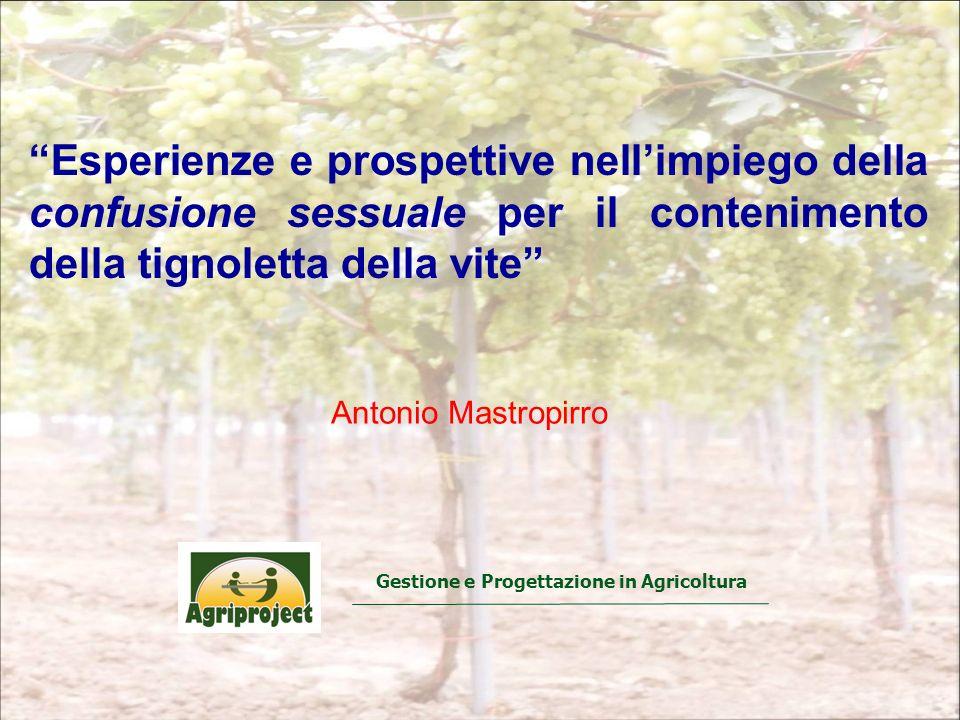 Gestione e Progettazione in Agricoltura Antonio Mastropirro Esperienze e prospettive nellimpiego della confusione sessuale per il contenimento della tignoletta della vite