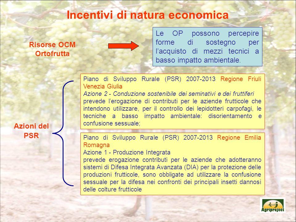 Incentivi di natura economica Piano di Sviluppo Rurale (PSR) 2007-2013 Regione Emilia Romagna Azione 1 - Produzione Integrata prevede erogazione contr