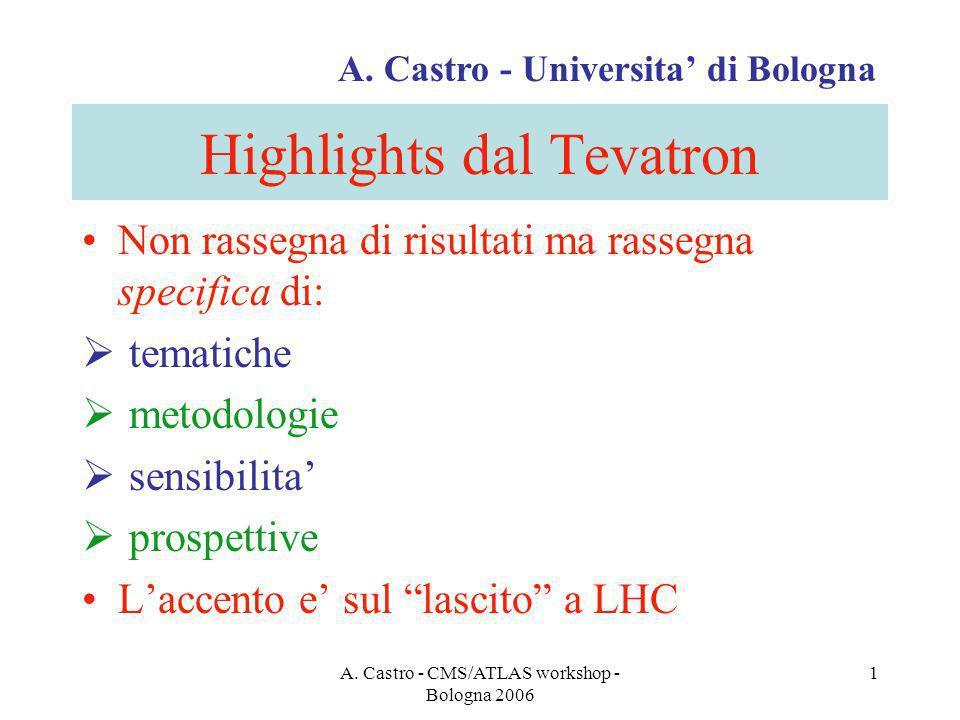 A. Castro - CMS/ATLAS workshop - Bologna 2006 1 Highlights dal Tevatron Non rassegna di risultati ma rassegna specifica di: tematiche metodologie sens
