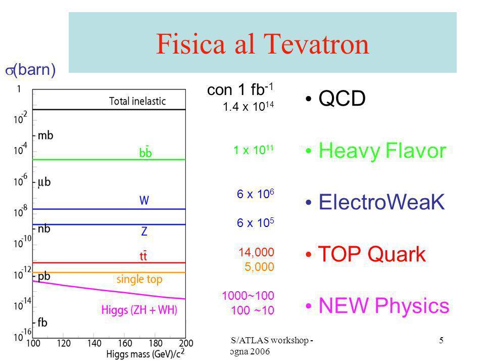 A. Castro - CMS/ATLAS workshop - Bologna 2006 5 Fisica al Tevatron con 1 fb -1 1.4 x 10 14 1 x 10 11 6 x 10 6 6 x 10 5 14,000 5,000 1000~100 100 ~10 (