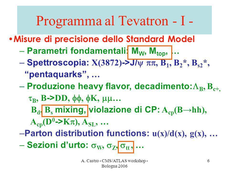 A. Castro - CMS/ATLAS workshop - Bologna 2006 6 Programma al Tevatron - I - Misure di precisione dello Standard Model – Parametri fondamentali: M W, M