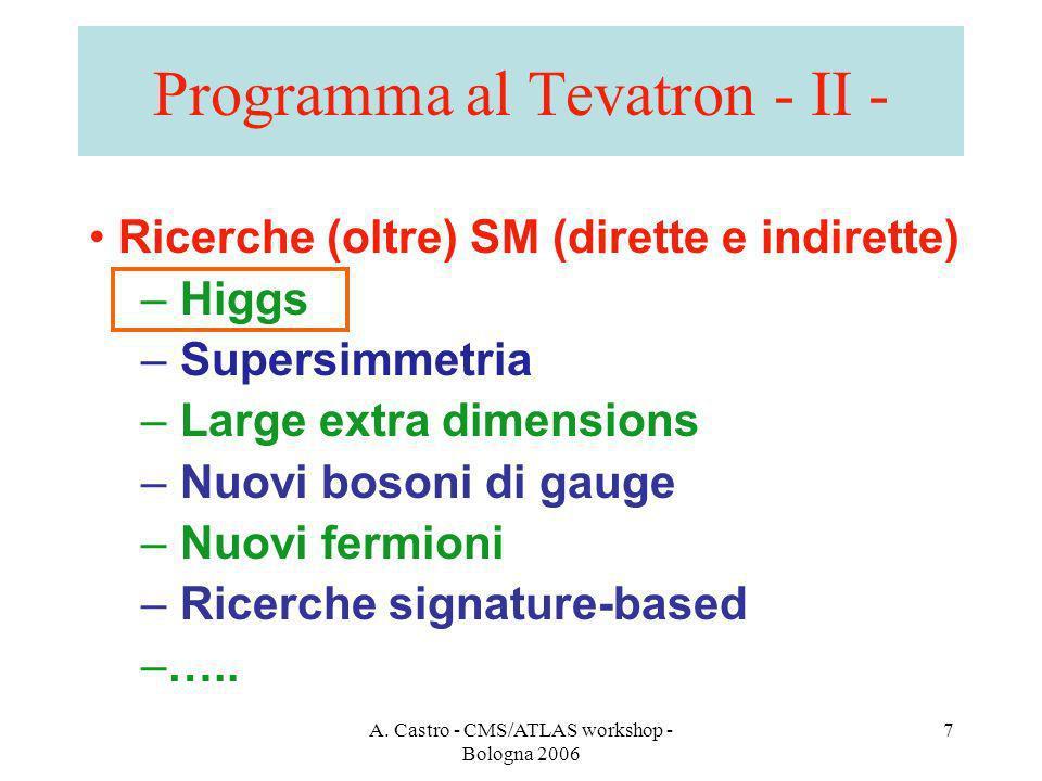 A. Castro - CMS/ATLAS workshop - Bologna 2006 7 Programma al Tevatron - II - Ricerche (oltre) SM (dirette e indirette) – Higgs – Supersimmetria – Larg