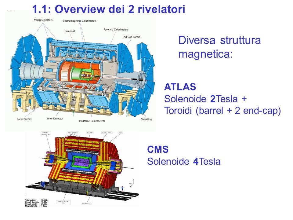 1.1: Overview dei 2 rivelatori ATLAS Solenoide 2Tesla + Toroidi (barrel + 2 end-cap) CMS Solenoide 4Tesla Diversa struttura magnetica: