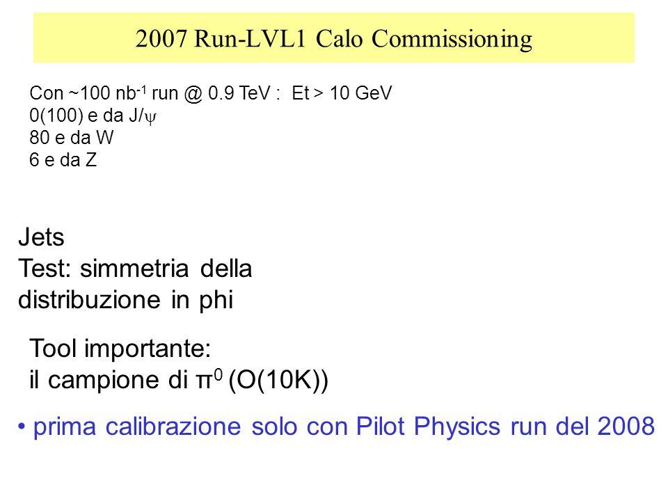 2007 Run-LVL1 Calo Commissioning Tool importante: il campione di π 0 (O(10K)) Con ~100 nb -1 run @ 0.9 TeV : Et > 10 GeV 0(100) e da J/ 80 e da W 6 e da Z Jets Test: simmetria della distribuzione in phi prima calibrazione solo con Pilot Physics run del 2008