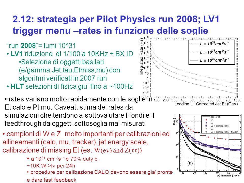 2.12: strategia per Pilot Physics run 2008; LV1 trigger menu –rates in funzione delle soglie run 2008= lumi 10^31 LV1 riduzione di 1/100 a 10KHz + BX ID Selezione di oggetti basilari (e/gamma,Jet,tau,Etmiss,mu) con algoritmi verificati in 2007 run HLT selezioni di fisica giu fino a ~100Hz rates variano molto rapidamente con le soglie in Et calo e Pt mu.