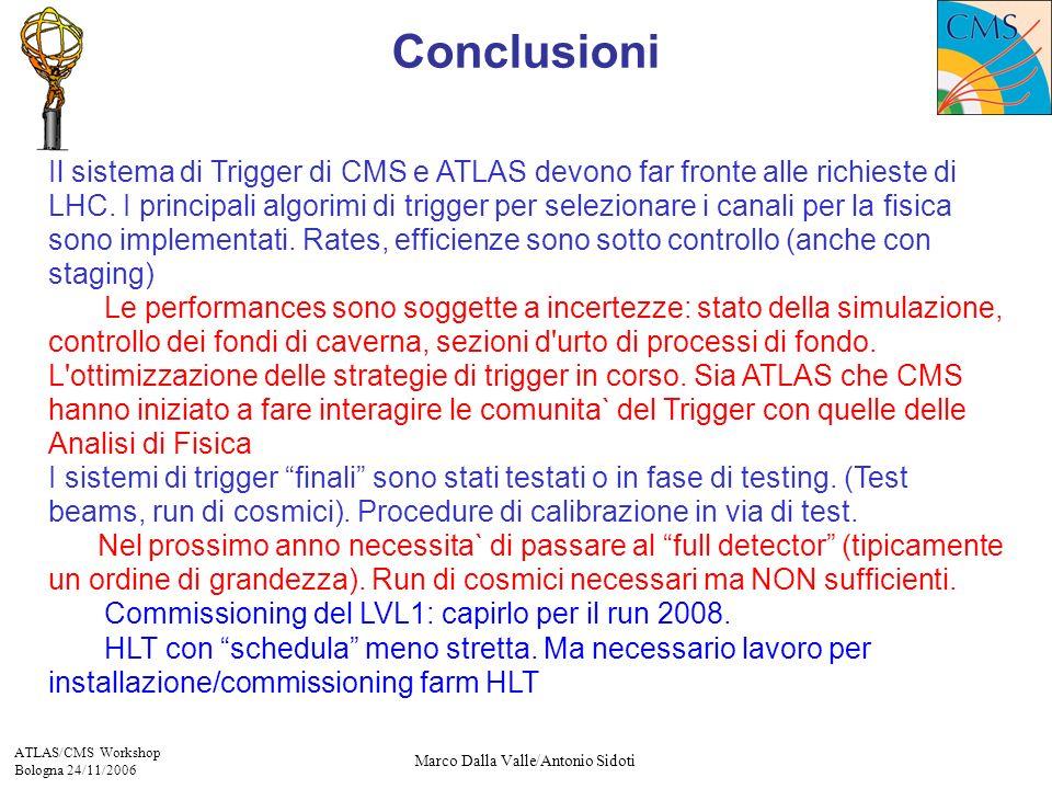 ATLAS/CMS Workshop Bologna 24/11/2006 Marco Dalla Valle/Antonio Sidoti Il sistema di Trigger di CMS e ATLAS devono far fronte alle richieste di LHC.