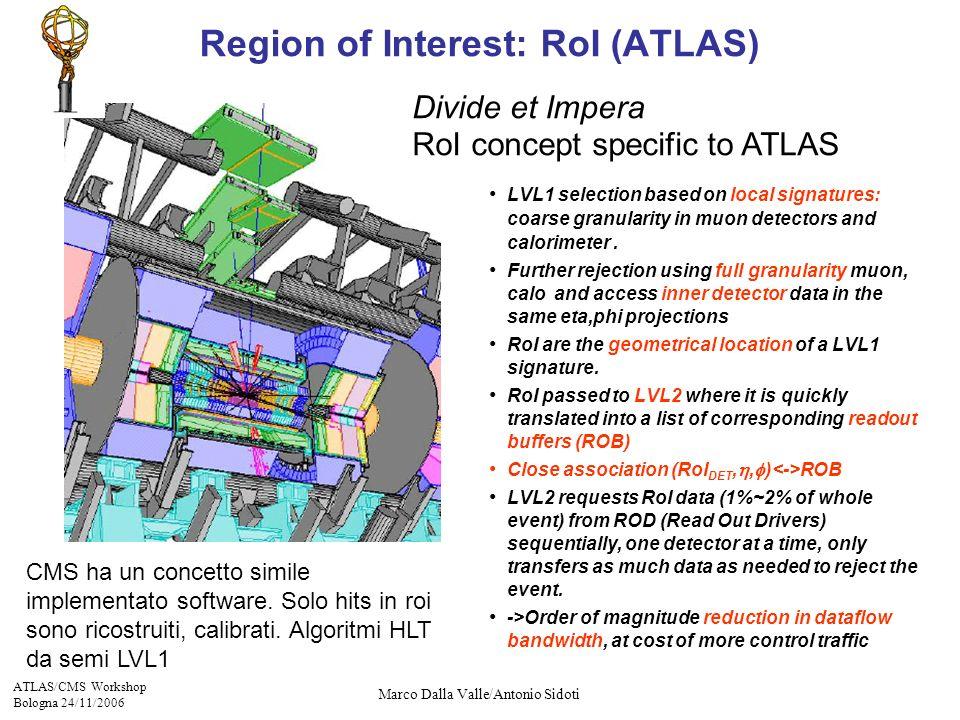 ATLAS/CMS Workshop Bologna 24/11/2006 Marco Dalla Valle/Antonio Sidoti LVL1 selection based on local signatures: coarse granularity in muon detectors and calorimeter.