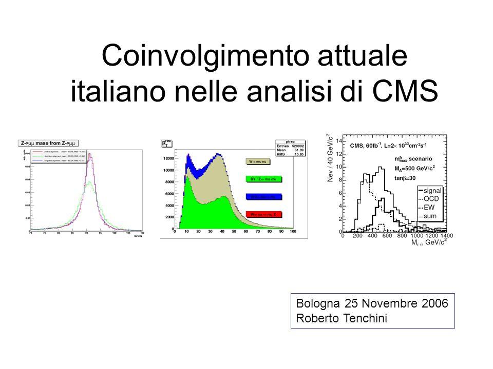 Coinvolgimento attuale italiano nelle analisi di CMS Bologna 25 Novembre 2006 Roberto Tenchini