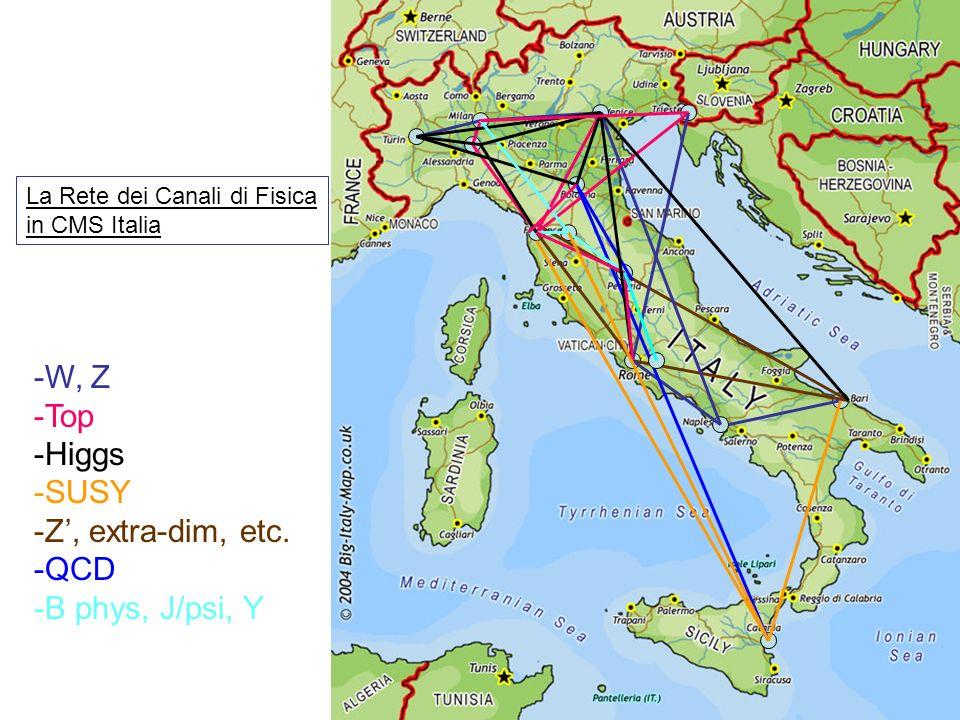 -W, Z -Top -Higgs -SUSY -Z, extra-dim, etc. -QCD -B phys, J/psi, Y La Rete dei Canali di Fisica in CMS Italia
