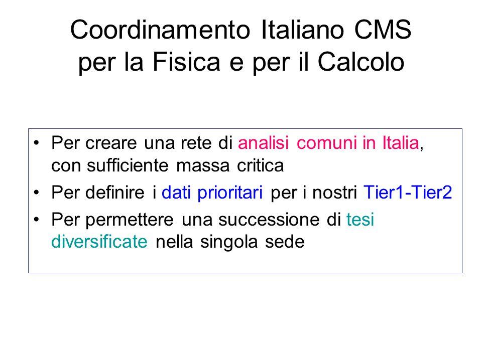 Coordinamento Italiano CMS per la Fisica e per il Calcolo Per creare una rete di analisi comuni in Italia, con sufficiente massa critica Per definire i dati prioritari per i nostri Tier1-Tier2 Per permettere una successione di tesi diversificate nella singola sede