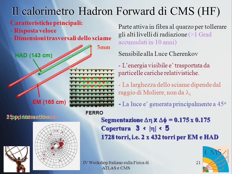 IV Workshop Italiano sulla Fisica di ATLAS e CMS 21 Parte attiva in fibra al quarzo per tollerare gli alti livelli di radiazione (>1 Grad accumulati in 10 anni) Sensibile alla Luce Cherenkov - Lenergia visibile e trasportata da particelle cariche relativistiche.