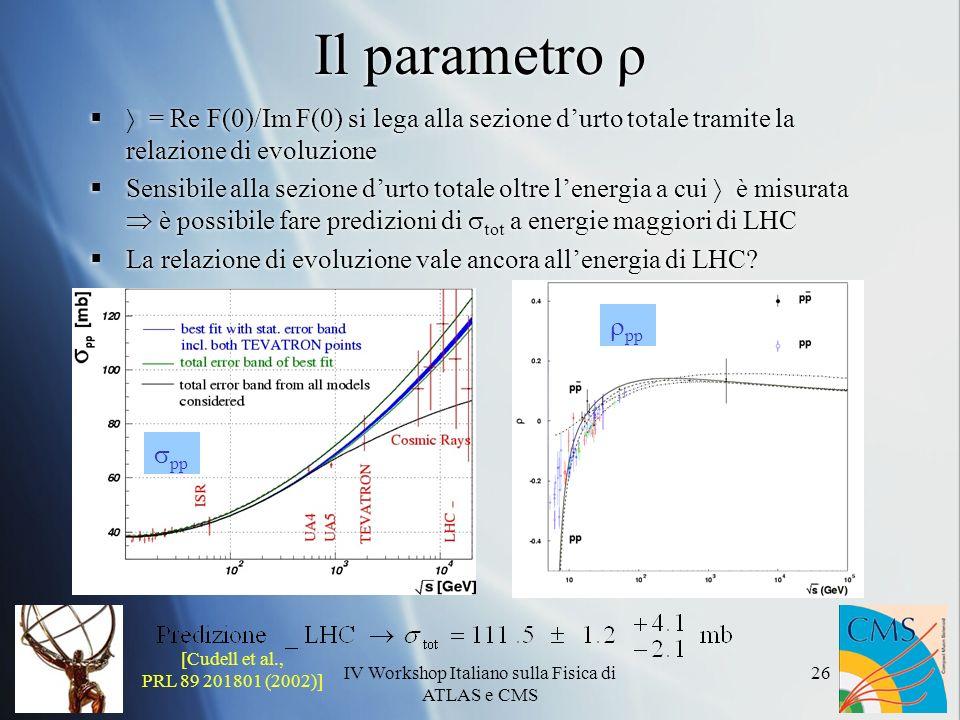 IV Workshop Italiano sulla Fisica di ATLAS e CMS 26 Il parametro ρ = Re F(0)/Im F(0) si lega alla sezione durto totale tramite la relazione di evoluzione Sensibile alla sezione durto totale oltre lenergia a cui è misurata è possibile fare predizioni di tot a energie maggiori di LHC La relazione di evoluzione vale ancora allenergia di LHC.