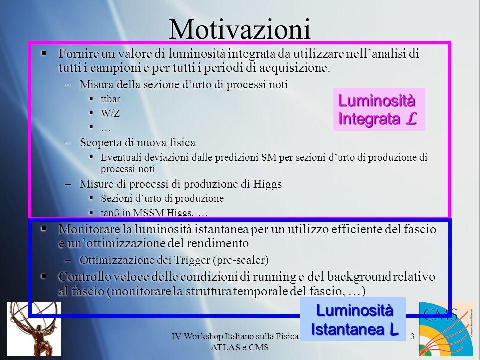 IV Workshop Italiano sulla Fisica di ATLAS e CMS 3 Motivazioni Fornire un valore di luminosità integrata da utilizzare nellanalisi di tutti i campioni e per tutti i periodi di acquisizione.