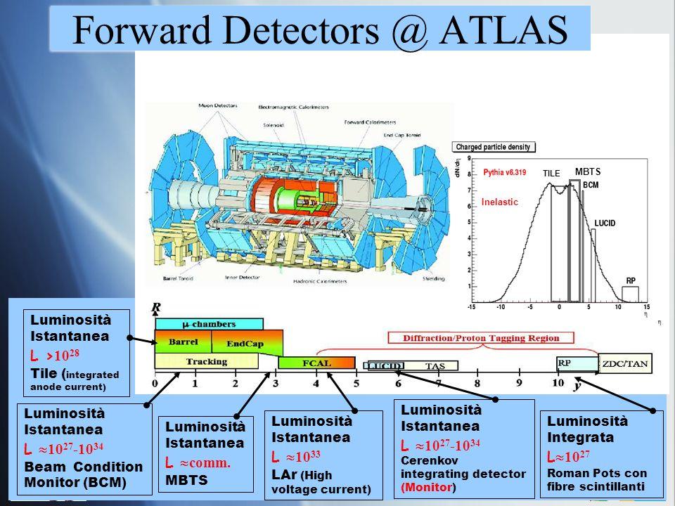 IV Workshop Italiano sulla Fisica di ATLAS e CMS 7 Luminosità Istantanea L 10 27 -10 34 Cerenkov integrating detector (Monitor) Luminosità Integrata L 10 27 Roman Pots con fibre scintillanti Luminosità Istantanea L comm.
