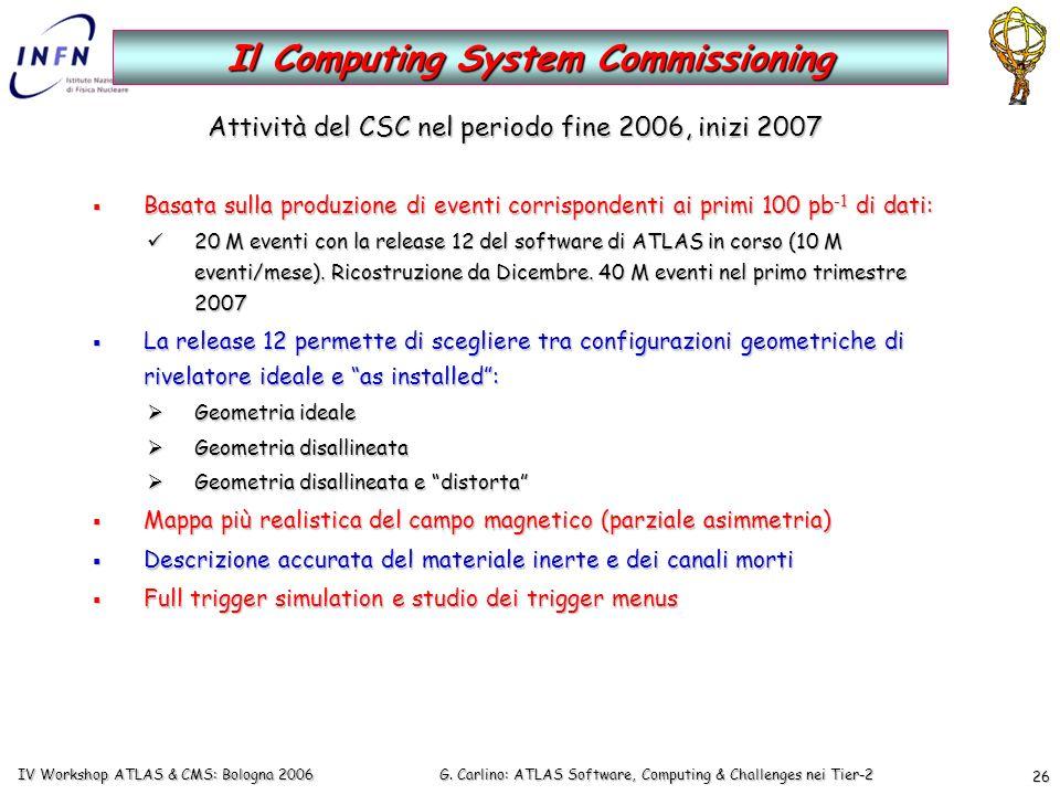 G. Carlino: ATLAS Software, Computing & Challenges nei Tier-2 IV Workshop ATLAS & CMS: Bologna 2006 26 Attività del CSC nel periodo fine 2006, inizi 2