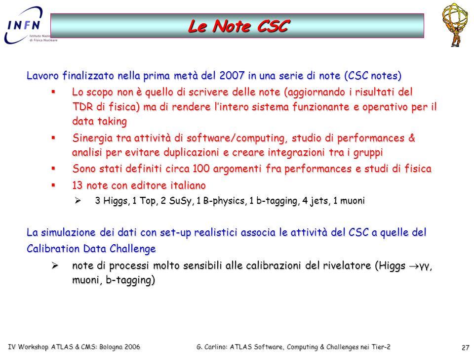 G. Carlino: ATLAS Software, Computing & Challenges nei Tier-2 IV Workshop ATLAS & CMS: Bologna 2006 27 Lavoro finalizzato nella prima metà del 2007 in