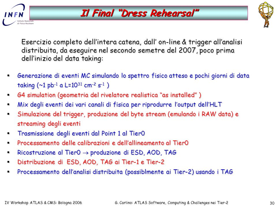 G. Carlino: ATLAS Software, Computing & Challenges nei Tier-2 IV Workshop ATLAS & CMS: Bologna 2006 30 Generazione di eventi MC simulando lo spettro f