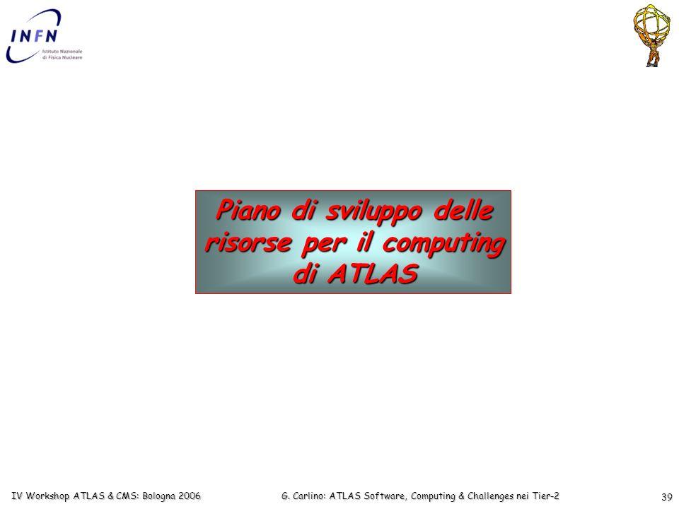 G. Carlino: ATLAS Software, Computing & Challenges nei Tier-2 IV Workshop ATLAS & CMS: Bologna 2006 39 Piano di sviluppo delle risorse per il computin
