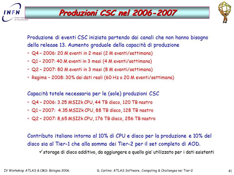 G. Carlino: ATLAS Software, Computing & Challenges nei Tier-2 IV Workshop ATLAS & CMS: Bologna 2006 41 Produzioni CSC nel 2006-2007 Produzione di even