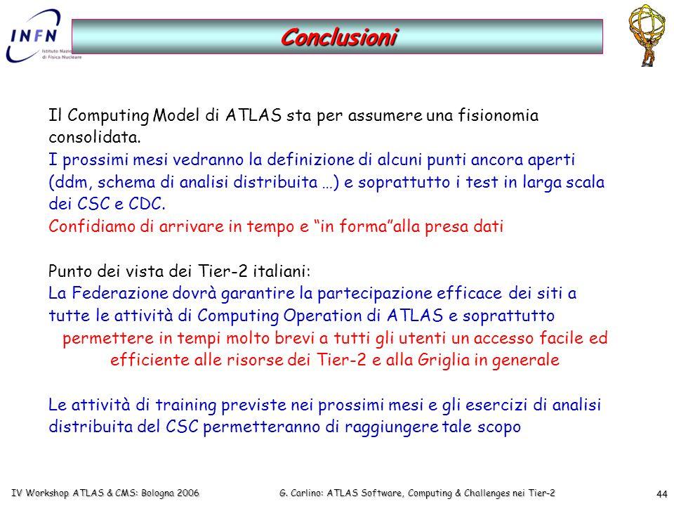 G. Carlino: ATLAS Software, Computing & Challenges nei Tier-2 IV Workshop ATLAS & CMS: Bologna 2006 44 Conclusioni Il Computing Model di ATLAS sta per