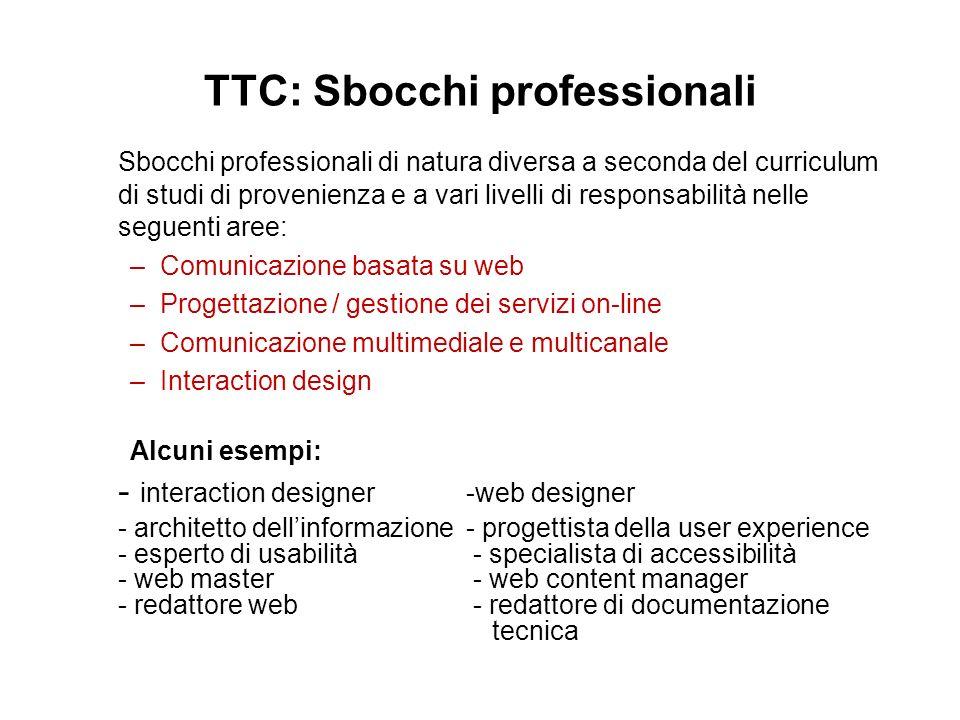 TTC: Sbocchi professionali Sbocchi professionali di natura diversa a seconda del curriculum di studi di provenienza e a vari livelli di responsabilità