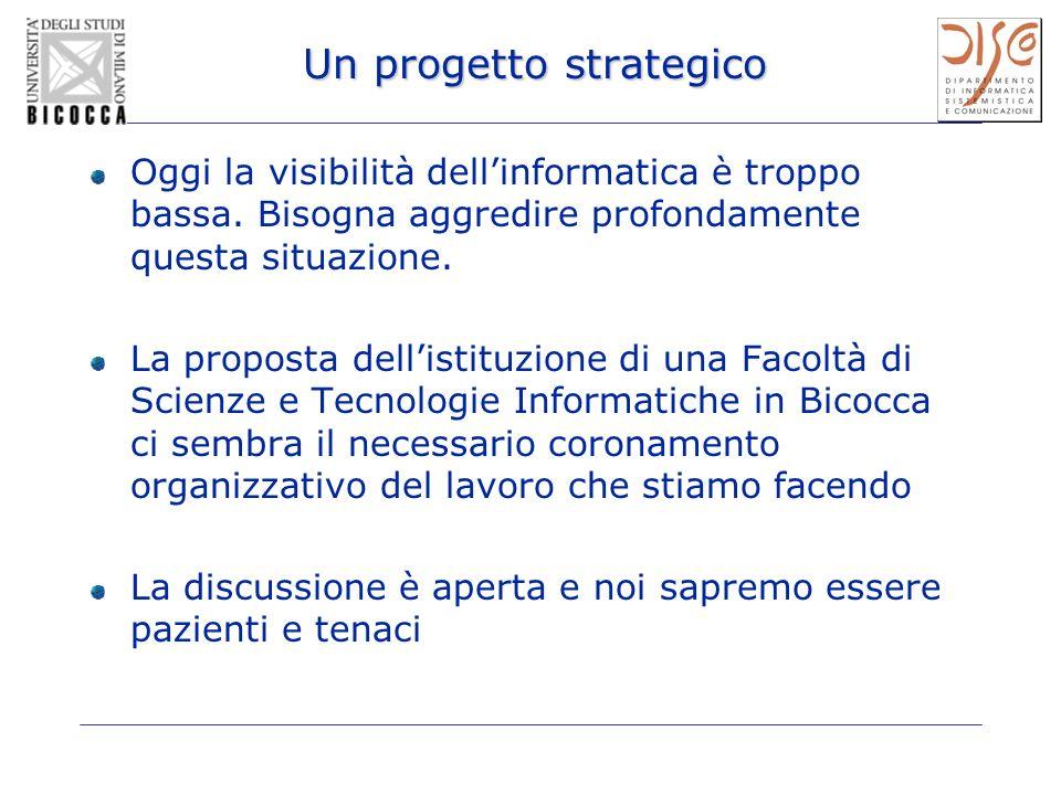 Un progetto strategico Oggi la visibilità dellinformatica è troppo bassa. Bisogna aggredire profondamente questa situazione. La proposta dellistituzio