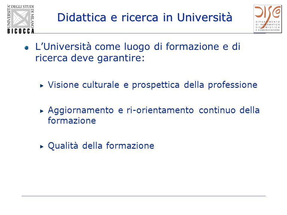 Didattica e ricerca in Università LUniversità come luogo di formazione e di ricerca deve garantire: Visione culturale e prospettica della professione Aggiornamento e ri-orientamento continuo della formazione Qualità della formazione
