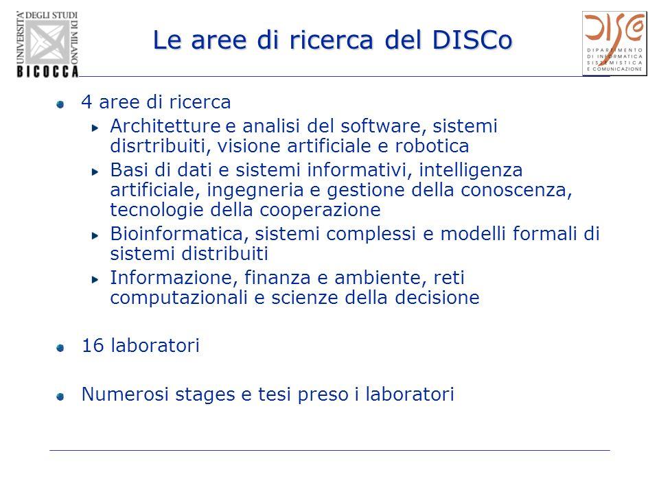 Le aree di ricerca del DISCo 4 aree di ricerca Architetture e analisi del software, sistemi disrtribuiti, visione artificiale e robotica Basi di dati