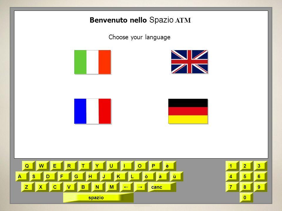 QWERTYUIOPè ASDFGHJKLòàù ZXCVBNM canc 123 456 789 0spazio Benvenuto nello Spazio ATM Choose your language