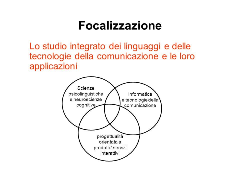 Focalizzazione Lo studio integrato dei linguaggi e delle tecnologie della comunicazione e le loro applicazioni Scienze psicolinguistiche e neuroscienz