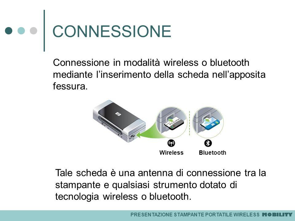 PRESENTAZIONE STAMPANTE PORTATILE WIRELESS MOBILITY CONNESSIONE Connessione in modalità wireless o bluetooth mediante linserimento della scheda nellap
