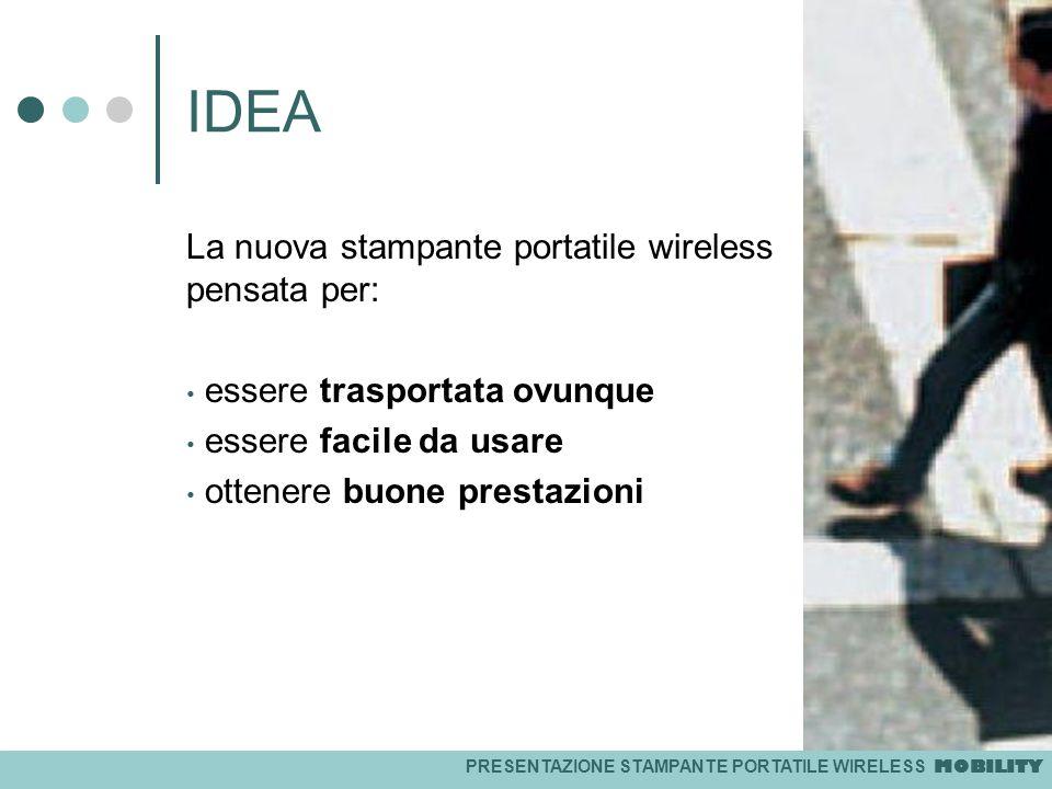 PRESENTAZIONE STAMPANTE PORTATILE WIRELESS MOBILITY IDEA La nuova stampante portatile wireless pensata per: essere trasportata ovunque essere facile d