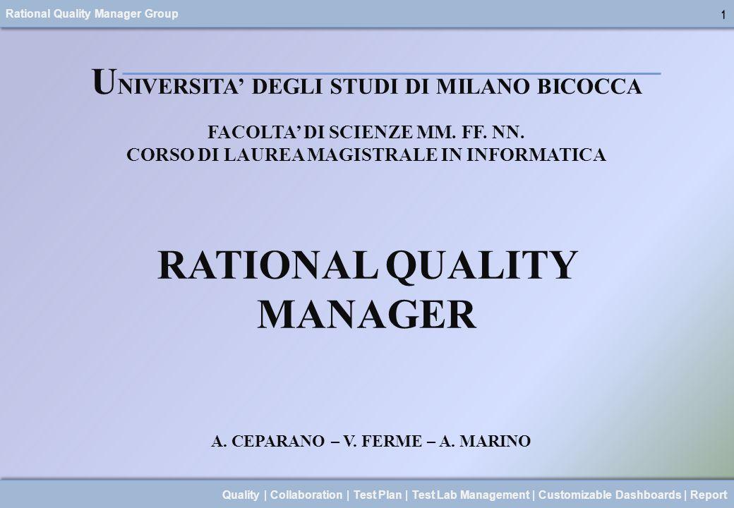 Rational Quality Manager Group 2 Quality | Collaboration | Test Plan | Test Lab Management | Customizable Dashboards | Report 1.COSÈ RATIONAL QUALITY MANAGER 2.QUALI SONO LE SUE CARATTERISTICHE 3.QUALI SONO I RUOLI CHE PERMETTE DI GESTIRE 4.UN OVERVIEW DEL PRODOTTO 5.DEMO DIMOSTRATIVA DELLUSO DI R.Q.M.