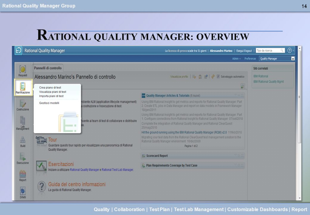 Rational Quality Manager Group 14 Quality | Collaboration | Test Plan | Test Lab Management | Customizable Dashboards | Report 14 R ATIONAL QUALITY MA
