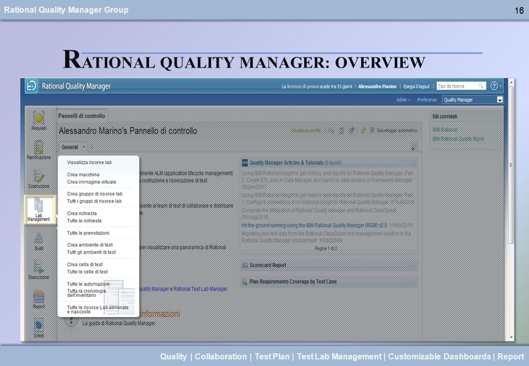 Rational Quality Manager Group 16 Quality | Collaboration | Test Plan | Test Lab Management | Customizable Dashboards | Report 16 R ATIONAL QUALITY MA