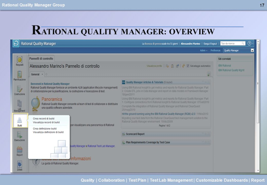 Rational Quality Manager Group 17 Quality | Collaboration | Test Plan | Test Lab Management | Customizable Dashboards | Report 17 R ATIONAL QUALITY MA
