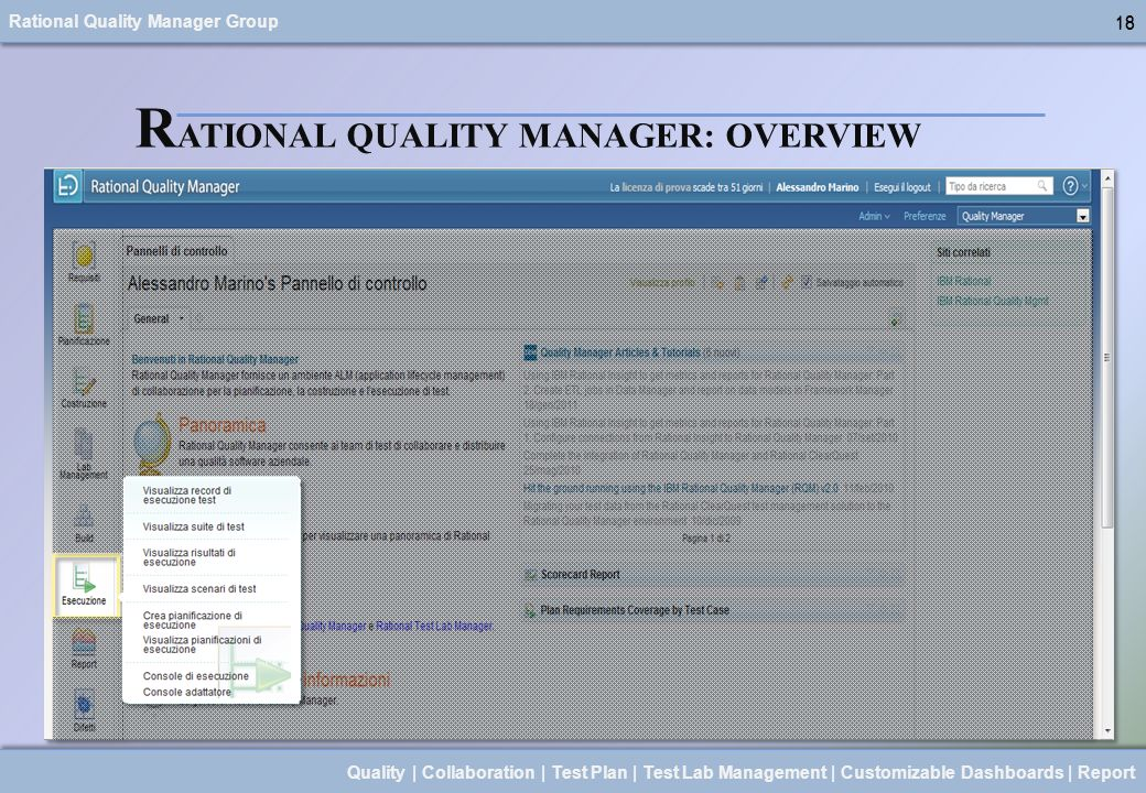Rational Quality Manager Group 18 Quality | Collaboration | Test Plan | Test Lab Management | Customizable Dashboards | Report 18 R ATIONAL QUALITY MA