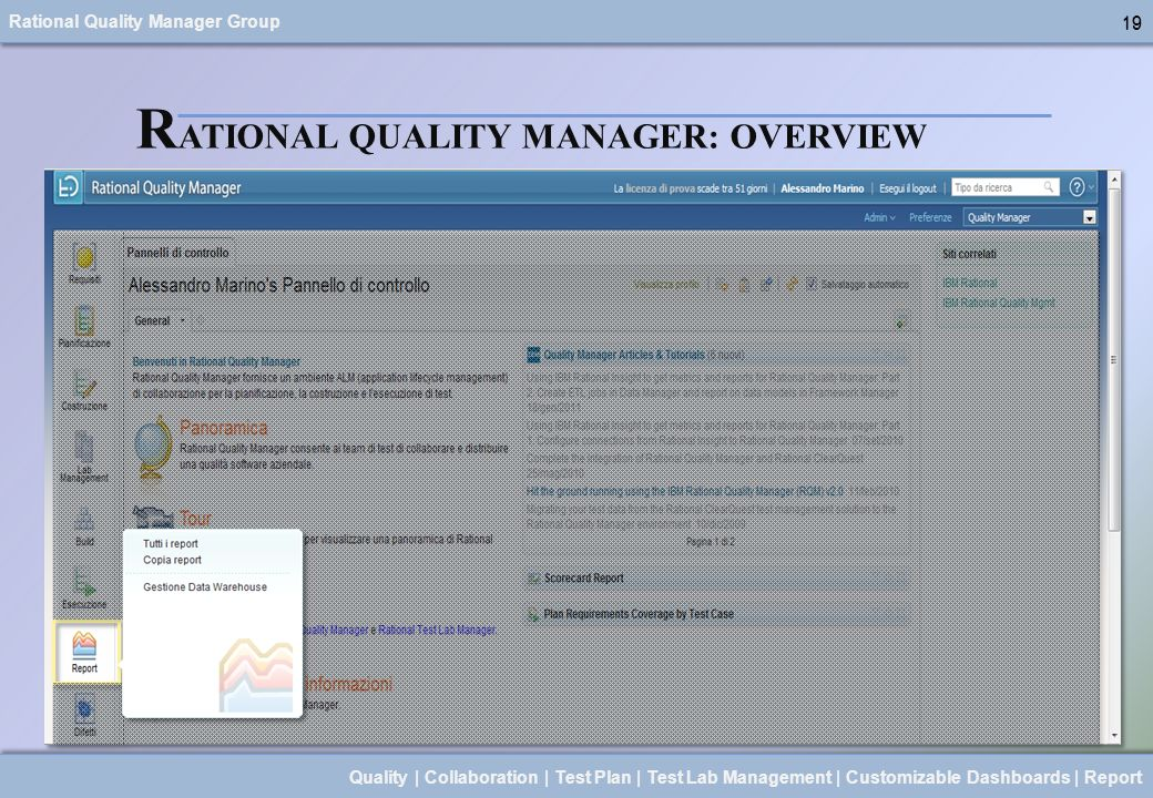 Rational Quality Manager Group 19 Quality | Collaboration | Test Plan | Test Lab Management | Customizable Dashboards | Report 19 R ATIONAL QUALITY MA