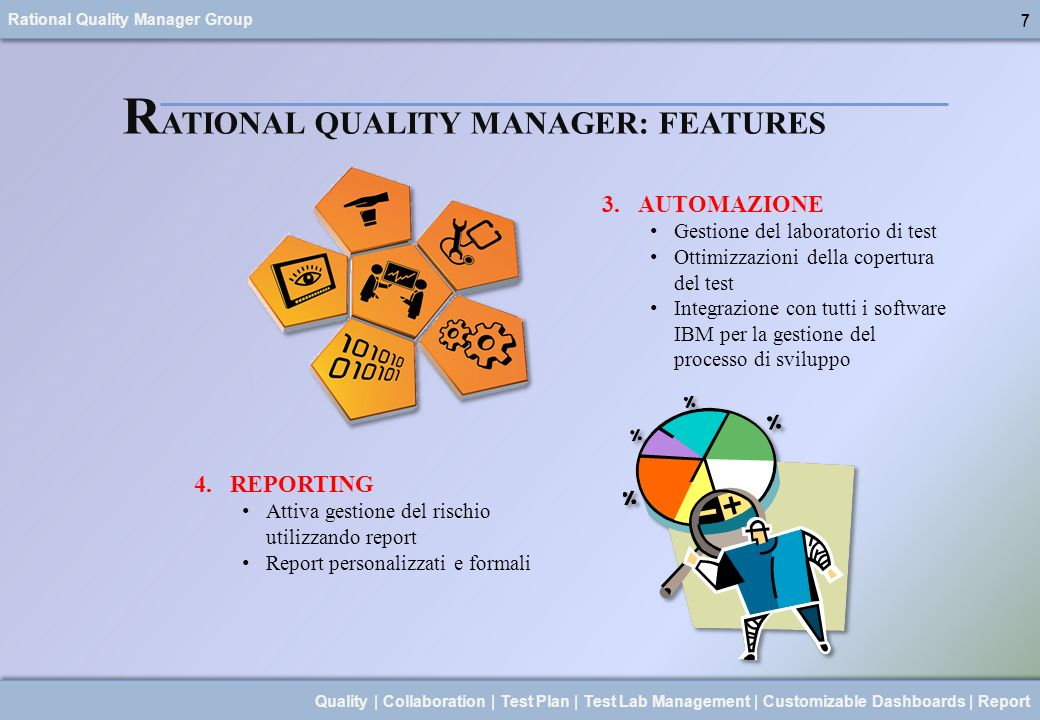 Rational Quality Manager Group 7 Quality | Collaboration | Test Plan | Test Lab Management | Customizable Dashboards | Report 7 R ATIONAL QUALITY MANA