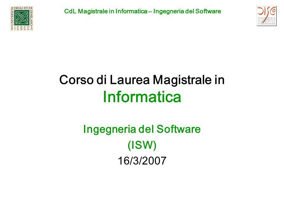 CdL Magistrale in Informatica – Ingegneria del Software 16/3/2007CDL Magistrale in Informatica - Ing.