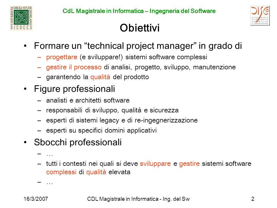 CdL Magistrale in Informatica – Ingegneria del Software 16/3/2007CDL Magistrale in Informatica - Ing. del Sw2 Obiettivi Formare un technical project m