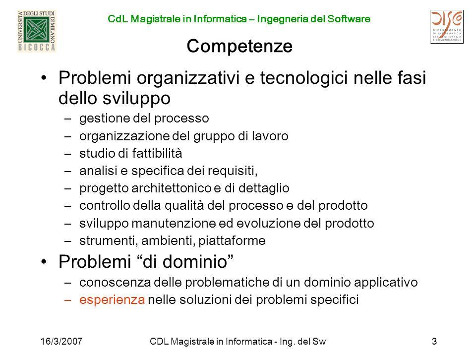 CdL Magistrale in Informatica – Ingegneria del Software 16/3/2007CDL Magistrale in Informatica - Ing. del Sw3 Competenze Problemi organizzativi e tecn