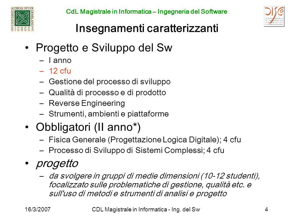 CdL Magistrale in Informatica – Ingegneria del Software 16/3/2007CDL Magistrale in Informatica - Ing. del Sw4 Insegnamenti caratterizzanti Progetto e