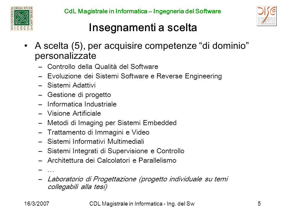 CdL Magistrale in Informatica – Ingegneria del Software 16/3/2007CDL Magistrale in Informatica - Ing. del Sw5 Insegnamenti a scelta A scelta (5), per