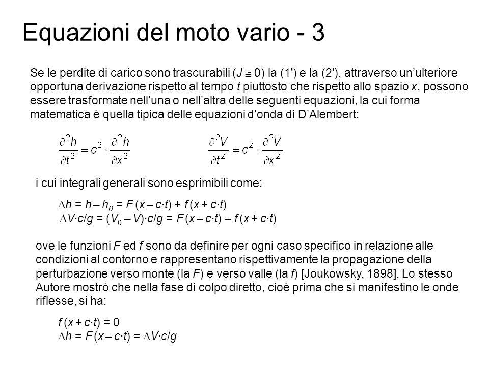 Equazioni del moto vario - 3 Se le perdite di carico sono trascurabili (J 0) la (1') e la (2'), attraverso unulteriore opportuna derivazione rispetto