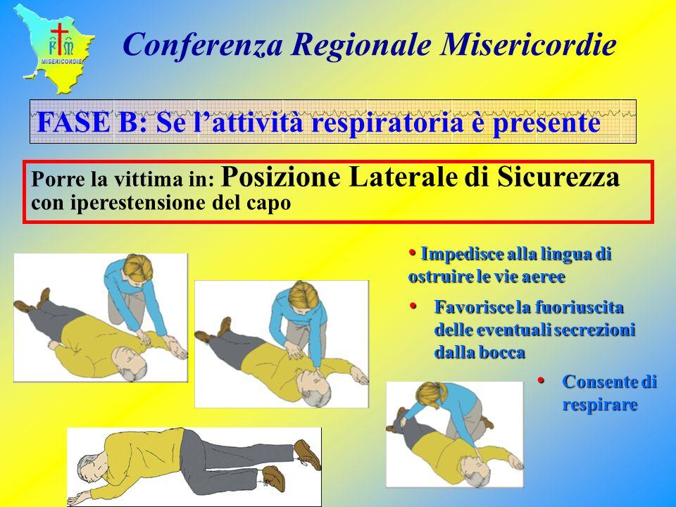 FASE B: Se lattività respiratoria è presente Porre la vittima in: Posizione Laterale di Sicurezza con iperestensione del capo Impedisce alla lingua di